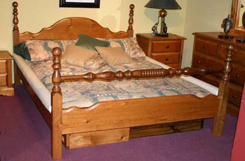 The Woodland 4 Poster Solid Pine Waterbed Frame